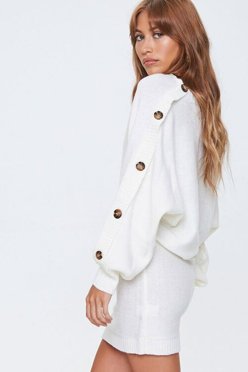 IVORY Button-Trim Sweater Dress, image 1