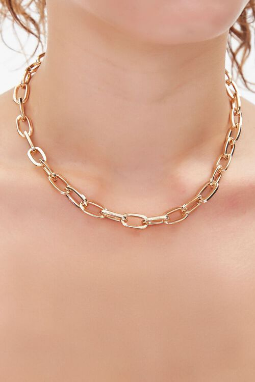 GOLD Chunky Anchor Chain Necklace, image 1