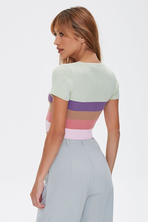 MINT/MULTI Striped Buttoned Crop Top, image 3