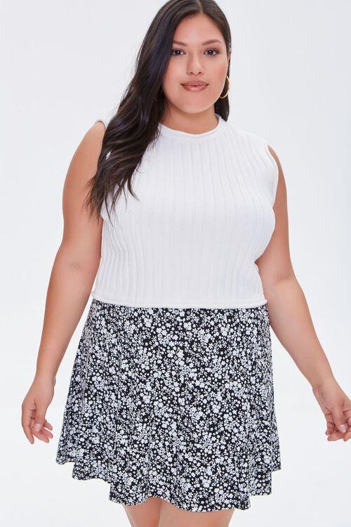 Plus Size Floral Print Mini Skirt, image 1