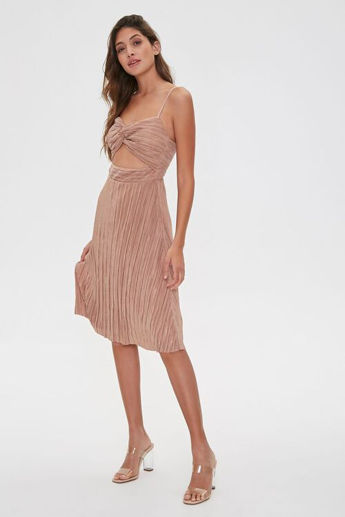 Pleated Cutout Cami Dress, image 1