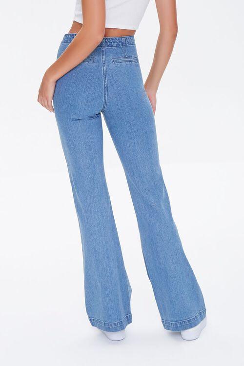 MEDIUM DENIM Button-Side Flare Jeans, image 4