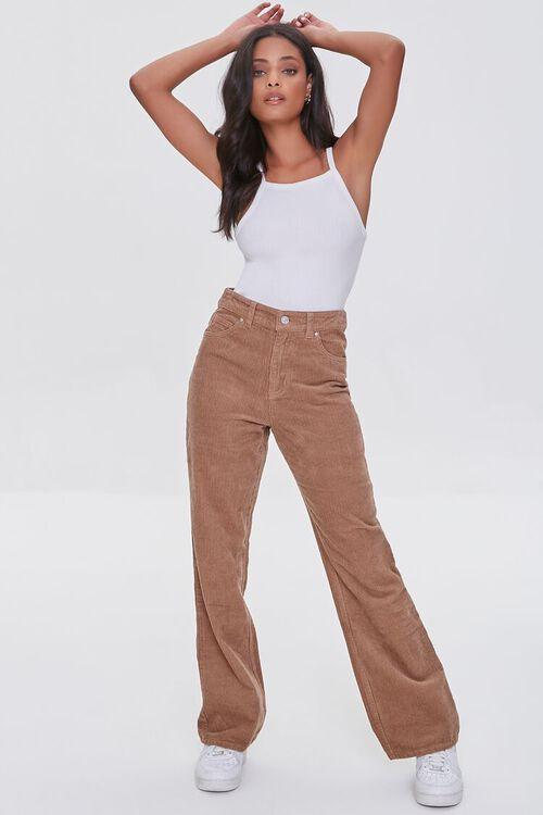 TAN Ribbed Relaxed Pants, image 1