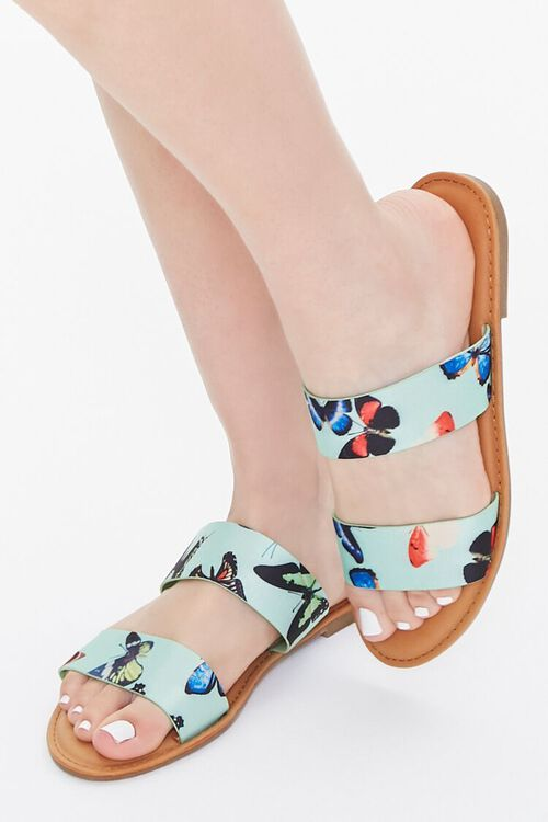 Butterfly Print Dual-Strap Sandals, image 1