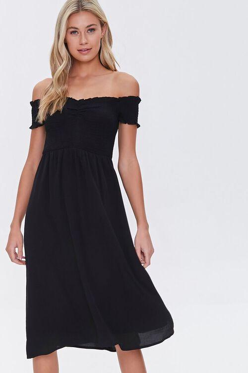 Smocked Off-the-Shoulder Midi Dress, image 1