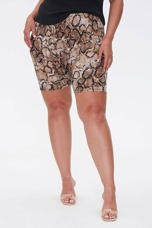 TAN/BLACK Plus Size Snake Biker Shorts, image 2