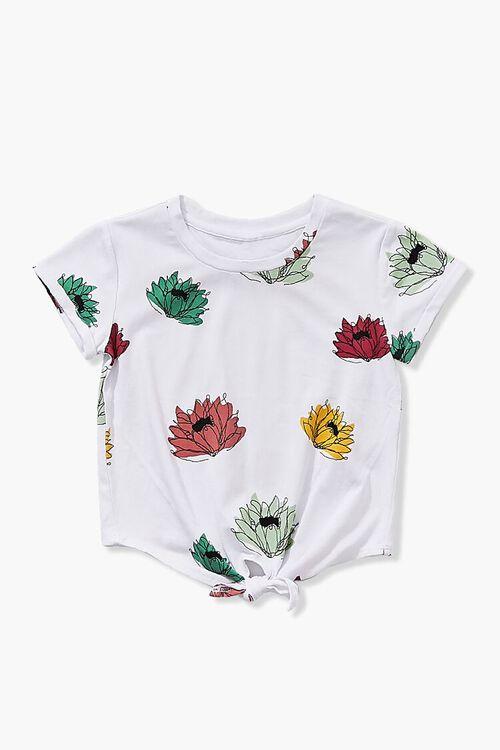 Girls Floral Print Tie-Front Top (Kids), image 1