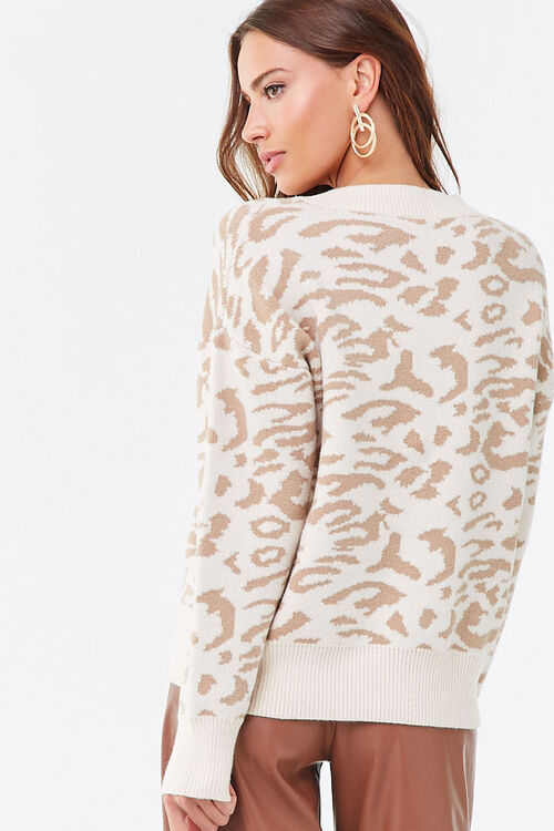 Animal Print V-Neck Sweater, image 3