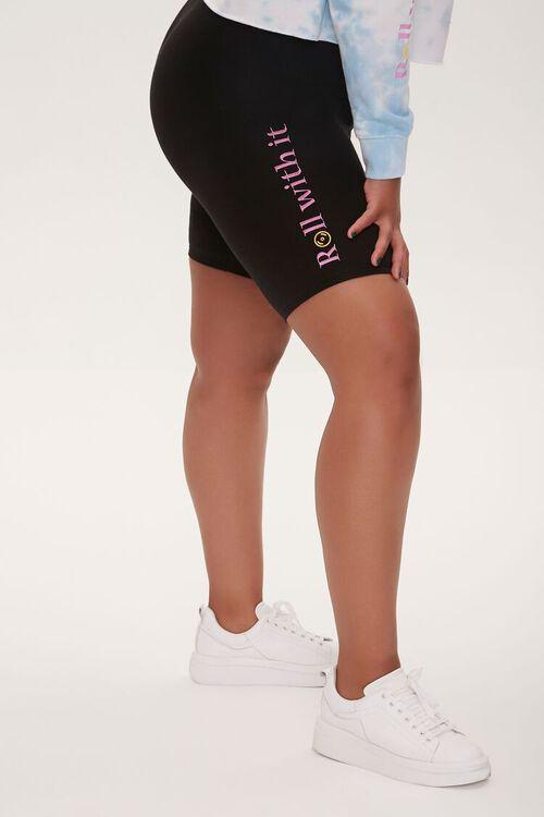 Plus Size Moxi Skates Embroidered Graphic Biker Shorts, image 3