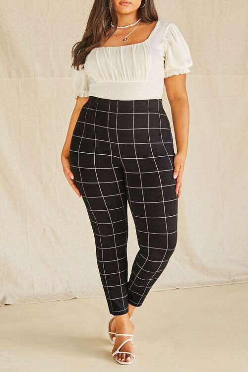 Plus Size Grid Print Ponte Leggings, image 2