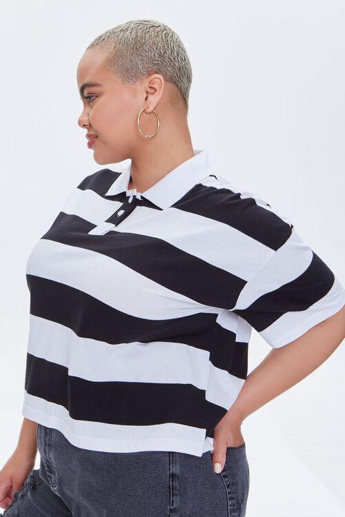 Plus Size Striped Polo Shirt, image 2