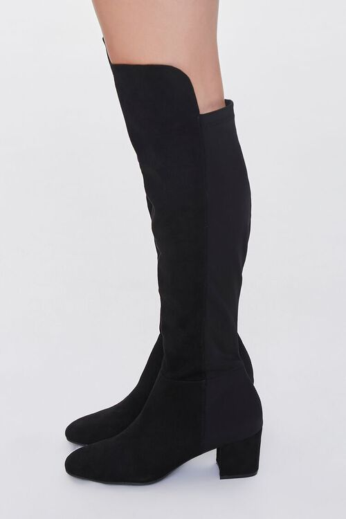 BLACK Faux Suede Knee-High Boots, image 2