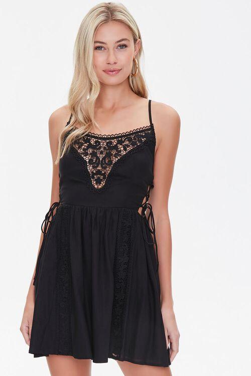 BLACK Lace-Panel Fit & Flare Dress, image 1