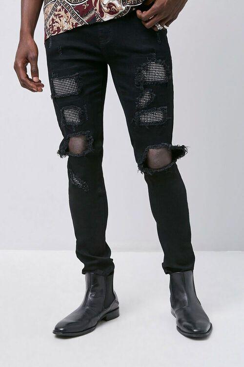 BLACK/SILVER Rhinestone Distressed Slim-Fit Jeans, image 1