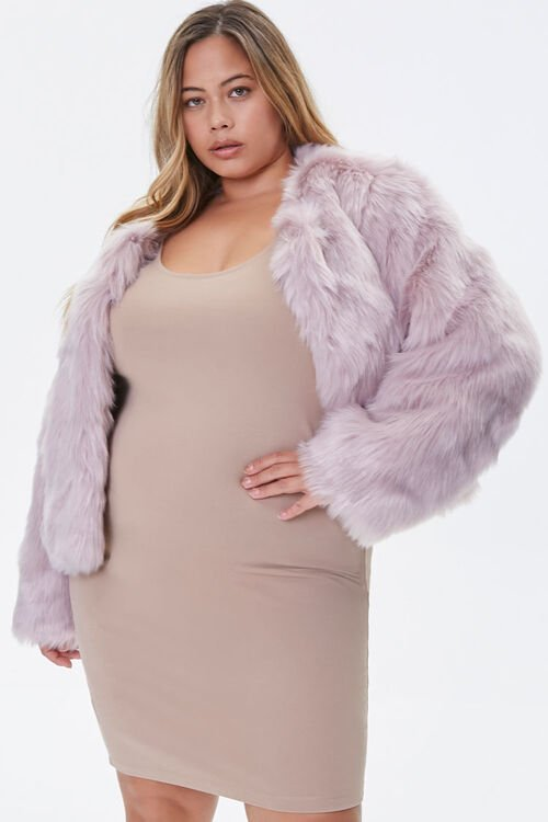 Plus Size Faux Fur Open-Front Jacket, image 1