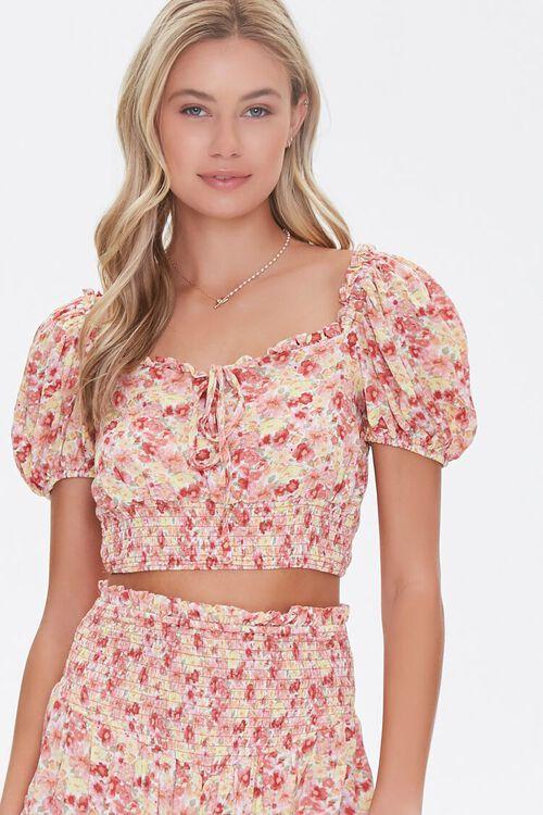 Floral Puff-Sleeve Crop Top, image 1
