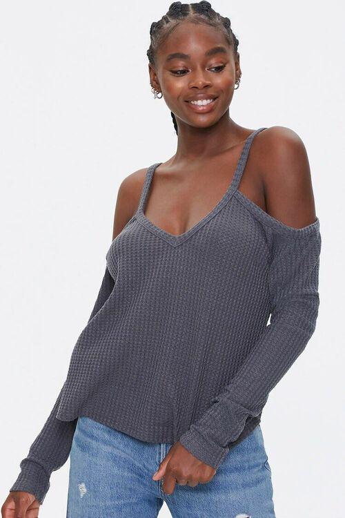 Open-Shoulder Waffle Knit Top, image 1