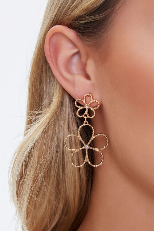 GOLD Cutout Floral Drop Earrings, image 1