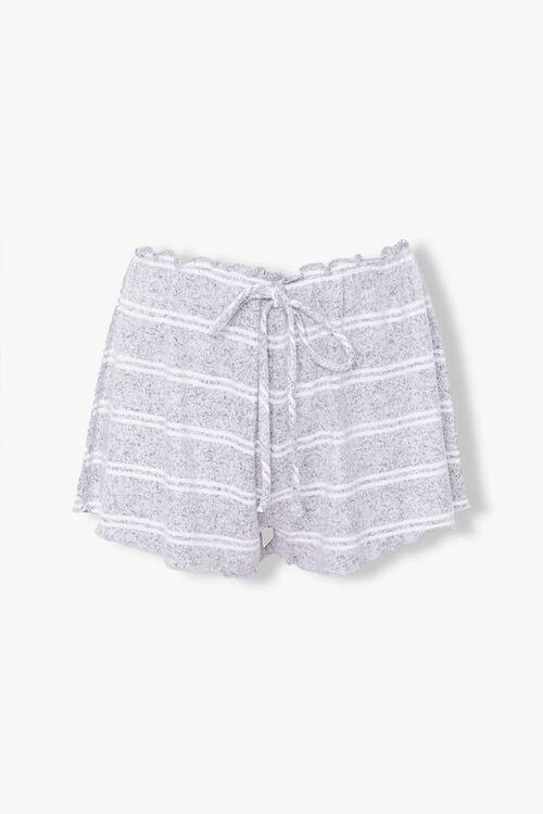 GREY/WHITE Striped Lounge Shorts, image 1