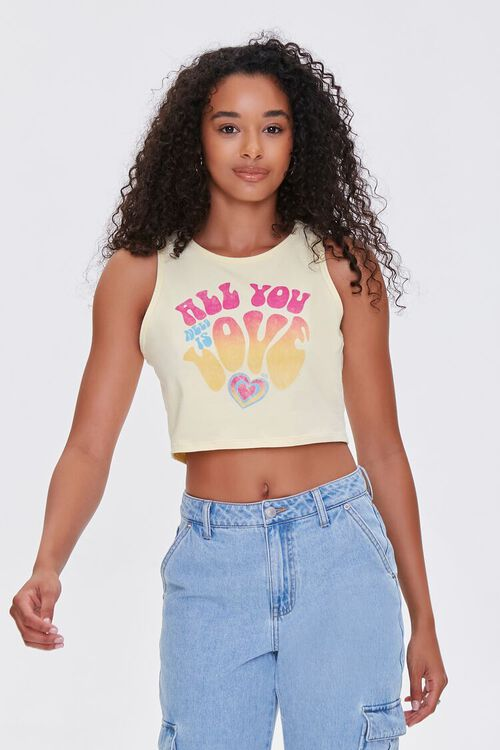 YELLOW/MULTI All You Need Is Love Crop Top, image 1