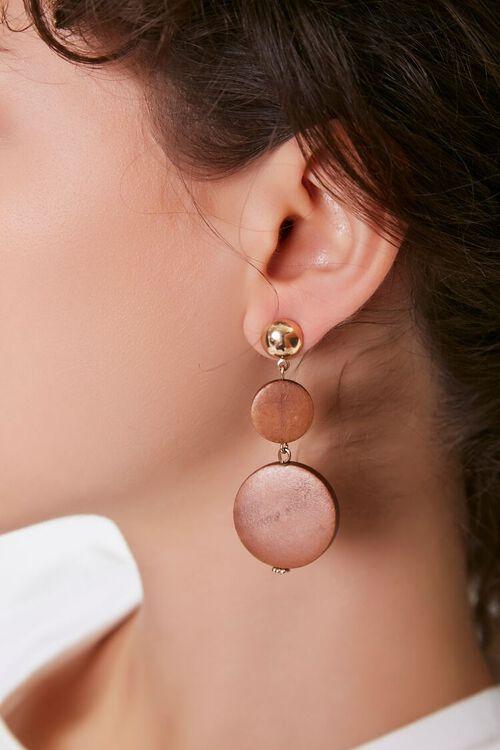 Wooden Pendant Drop Earrings, image 1