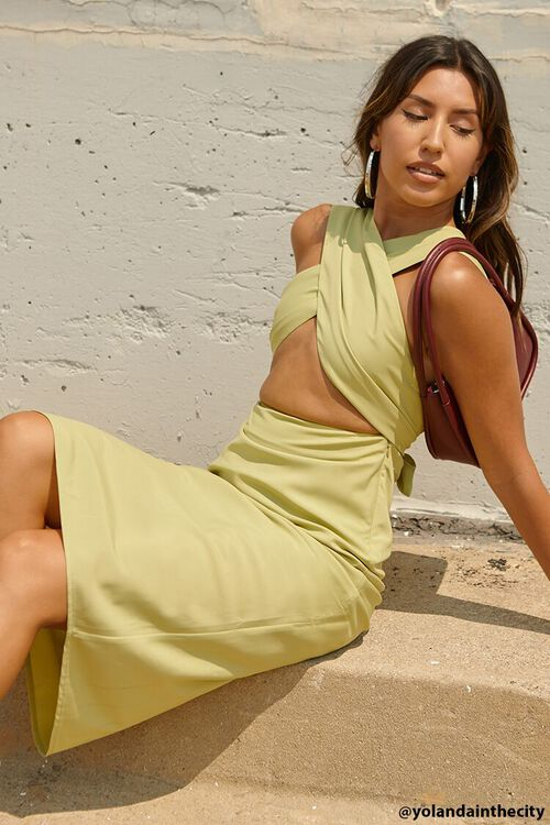 LIGHT OLIVE Crossover Halter Dress, image 2