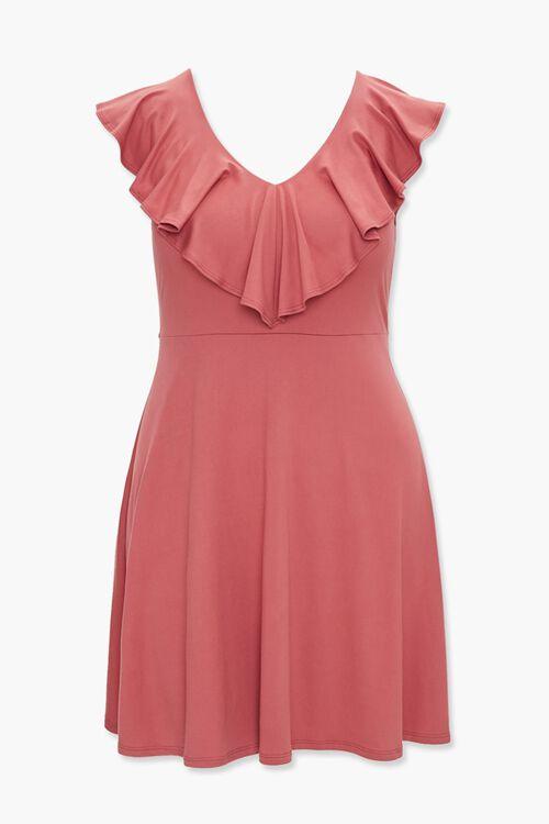 Plus Size Flounce V-Neck Dress, image 1