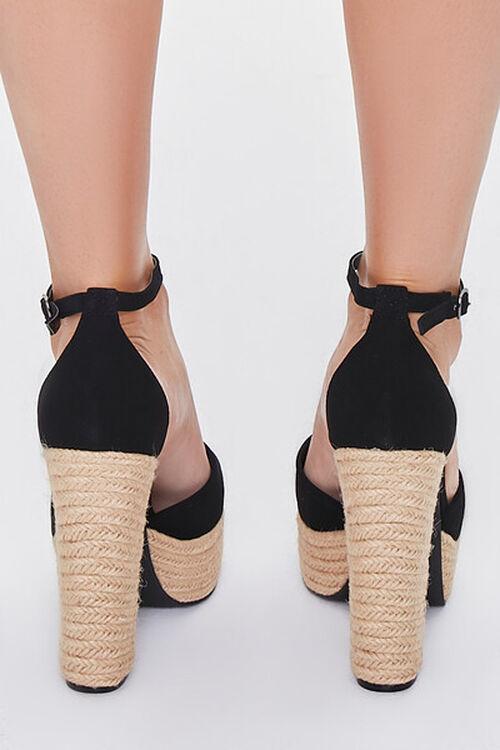 BLACK Faux Suede Espadrille Block Heels, image 3