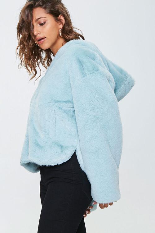 Plush Faux Fur Zip-Up Hoodie, image 2