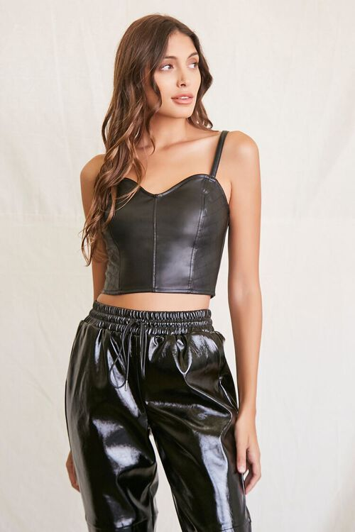 BLACK Quilted Faux Leather Cami, image 1