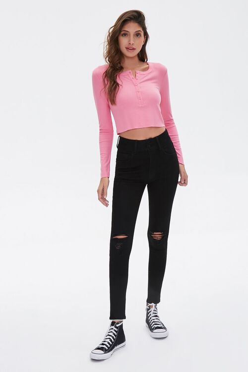 PINK Cropped Henley Top, image 4