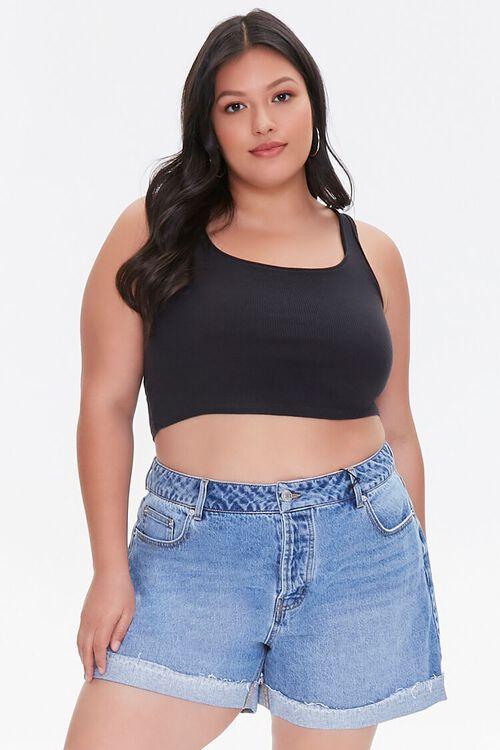 Plus Size Whiskered Denim Shorts, image 1