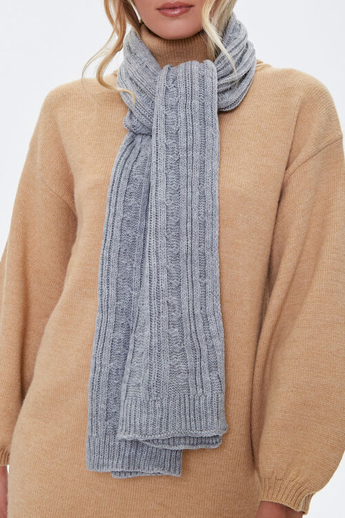 Cable Knit Oblong Scarf, image 2