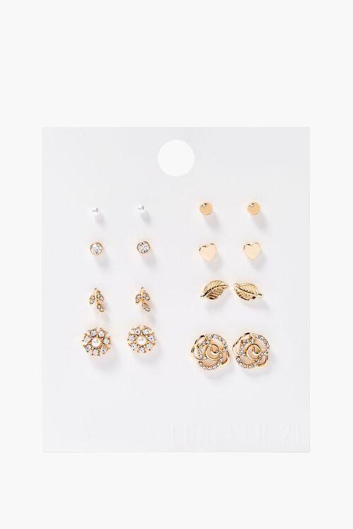 Rhinestone Rose Charm Stud Earring Set, image 1