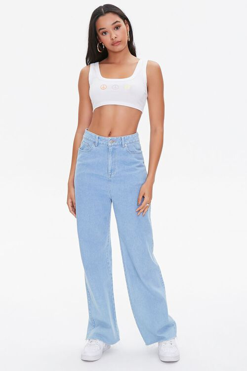 Peace Sign Graphic Crop Top, image 4