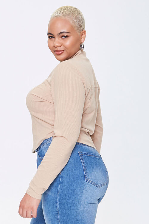Plus Size Ribbed Knit Crop Top, image 2