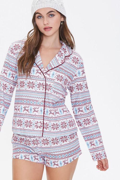 Fair Isle Print Pajama Set, image 1