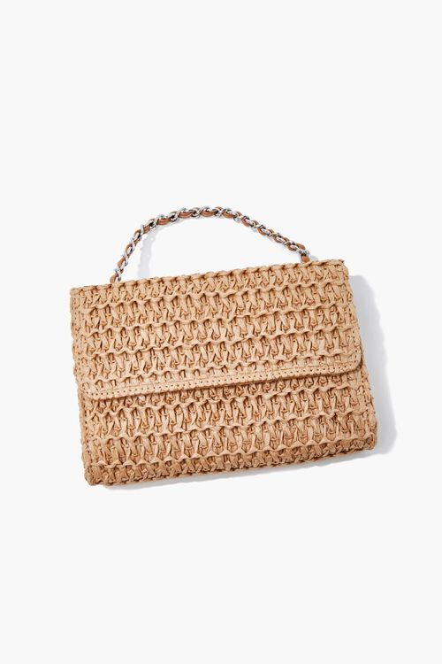 Faux Straw Basketwoven Crossbody Bag, image 1