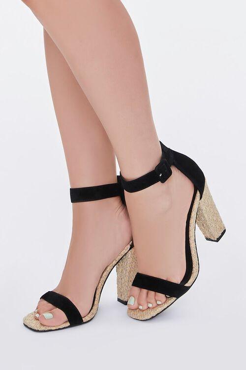 BLACK Faux Suede Basketwoven Block Heels, image 1