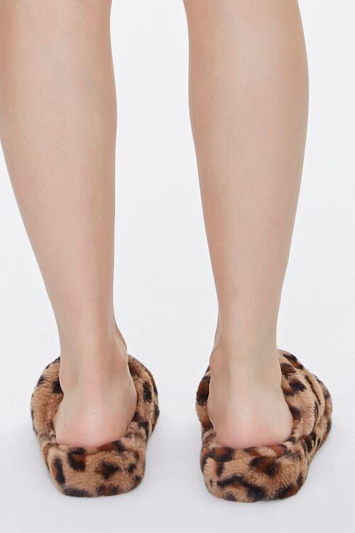Faux Fur Leopard Print Crisscross Slippers, image 3