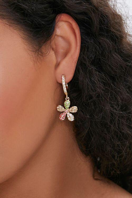 Rhinestone Floral Charm Hoops, image 2