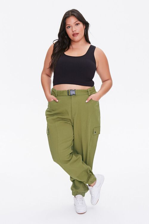 OLIVE Plus Size Belted Cargo Joggers, image 1