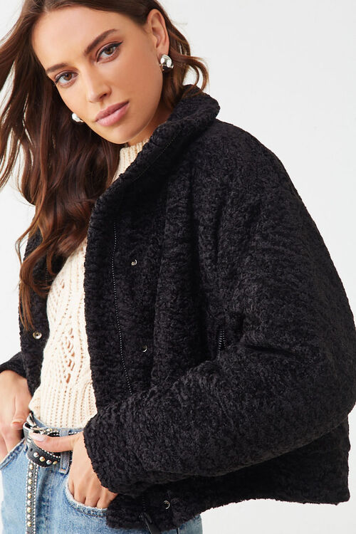 Faux Shearling Snap-Button Jacket, image 1