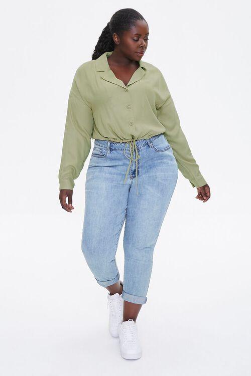 Plus Size Drawstring-Hem Shirt, image 4