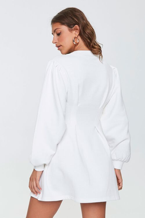 French Terry Pintucked Long-Sleeve Dress, image 3
