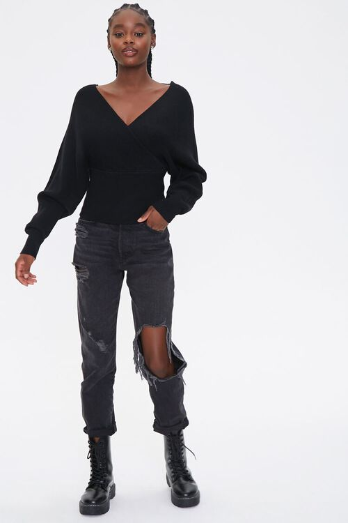 Ribbed Surplice Batwing Sweater, image 4