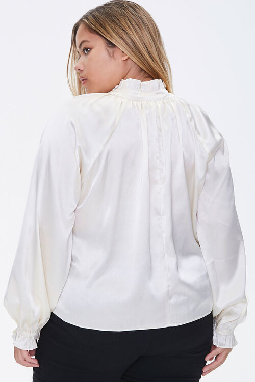 Plus Size Satin Trumpet-Sleeve Top, image 3