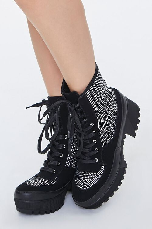 Faux Suede Rhinestone Ankle Boots, image 1