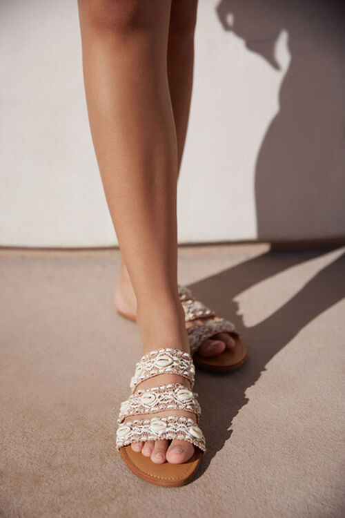 WHITE Caged Shell Sandals, image 1