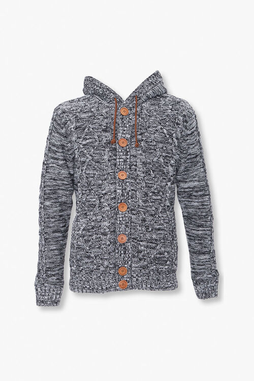 Marled Hooded Cardigan Sweater, image 1